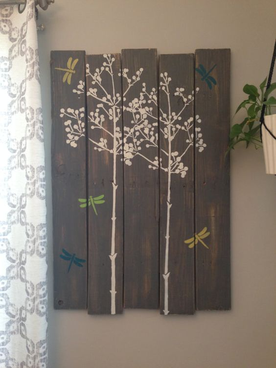 Large Distressed Wall Decor : Large distressed rustic grey tree dragonfly wall art