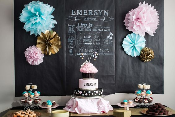 Pink, Aqua and Gold Birthday Party Decor - #kidsparty #firstbirthday #partytable