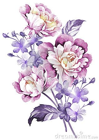 Watercolor illustration flower in simple background: