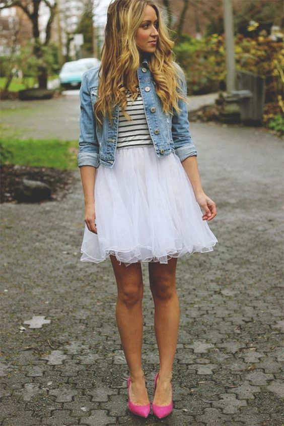 tulle skirt + striped shirt + denim jacket: