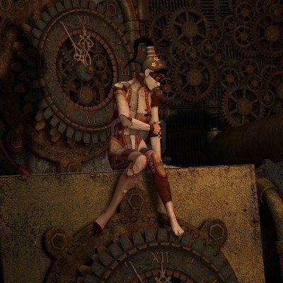 Steampunk de rendu 3D de cinq à douze Banque d'images