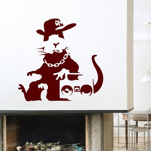Banksy fly rat wall decals cats the o 39 jays and rats for Banksy rat mural