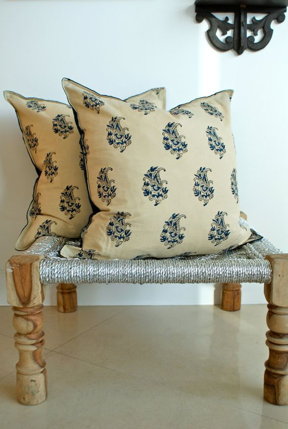 Indian Hand block Print Throw Pillows Cushion Covers by zaipur, $99.00