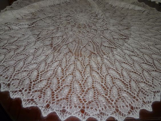 gorgeous baby christening shawl by Marilyn Joy. Knitted in Lara Downs fine mohair yarn