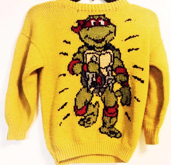 Knitting Pattern For Ninja Turtles Jumper : Vintage Teenage Mutant Ninja Turtles Knitted sweater by ...