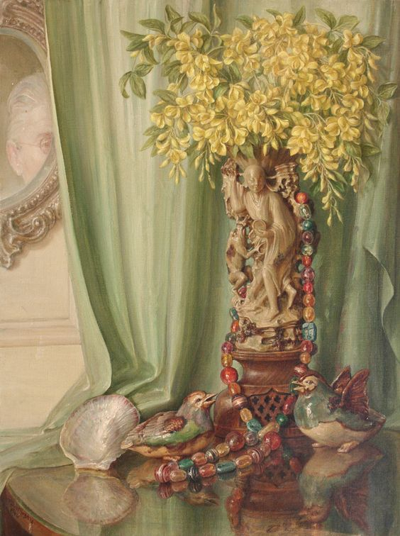 Still Life and self portrait by Talbot Hughes - 1940