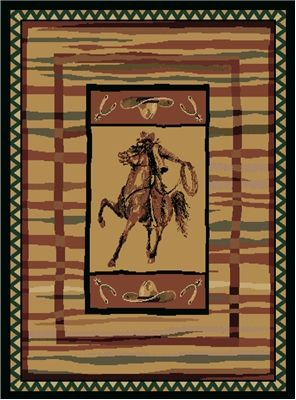 $89.99 Cowboy Roping Western Horse Rug Features: a horse riding cowboy roping framed by cowboy hats, spurs framed by a deep stripe border and zigzag edge. It will add to the western theme any cowboy or cowgirl would love coming home too! Our western rugs are the perfect centerpiece for your rustic decor at a perfect price point