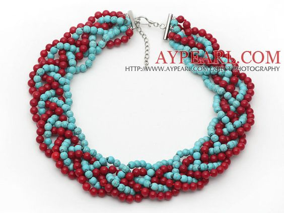 Red and Green Series Bold Style Round 6mm Red Coral and Turquoise Beads Woven Necklace