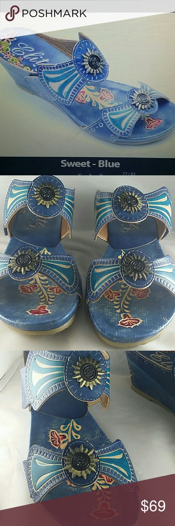 Corky's Women's Elite Sweet Blue Sandals -NWT -Leather  - Manmade sole -Easy slip on styling with hook and loop closure for secure fit. -Open toe and heel -Cushioned foot bed Corky's  Shoes Sandals