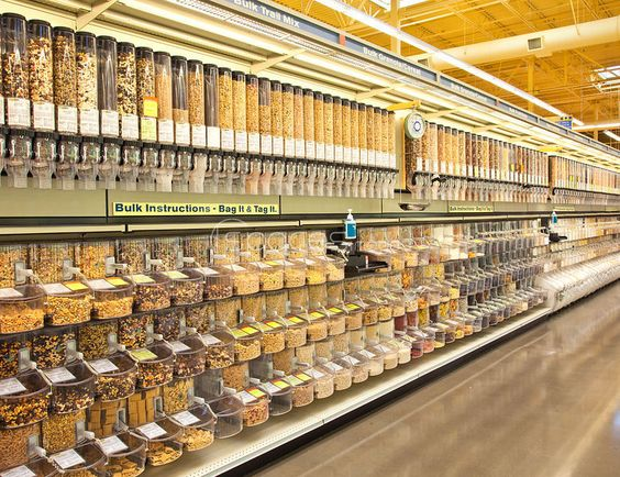 the bulk food bin aisle is where it is at to get past all the disposable plastic packaging.  bring reusable paper or cotton bags.  i wish dawson had an aisle like this.