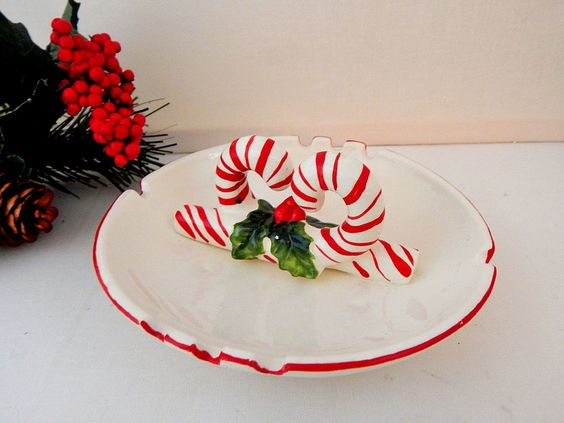 Ceramic Ashtray Red and White Candy Cane Dish Retro Tobacciana 1960's Christmas Home Decor by TKSPRINGTHINGS on Etsy