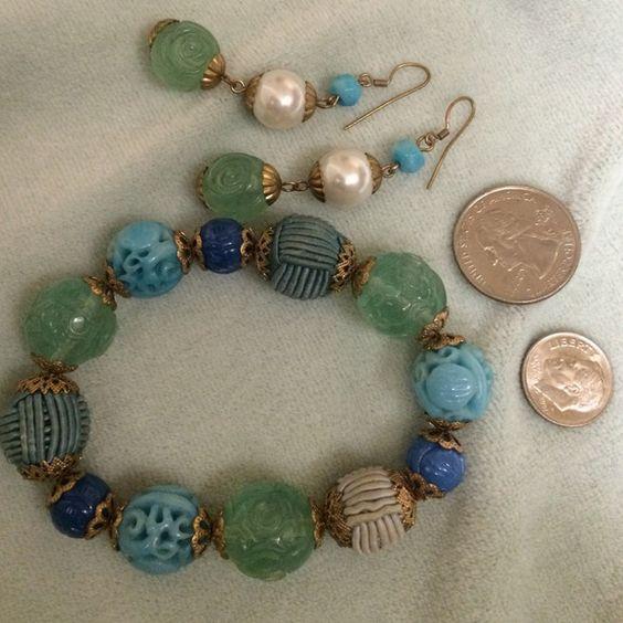 Bracelet and Earrings set. BLUE & GREEN Bracelet/Earrings set Jewelry Bracelets