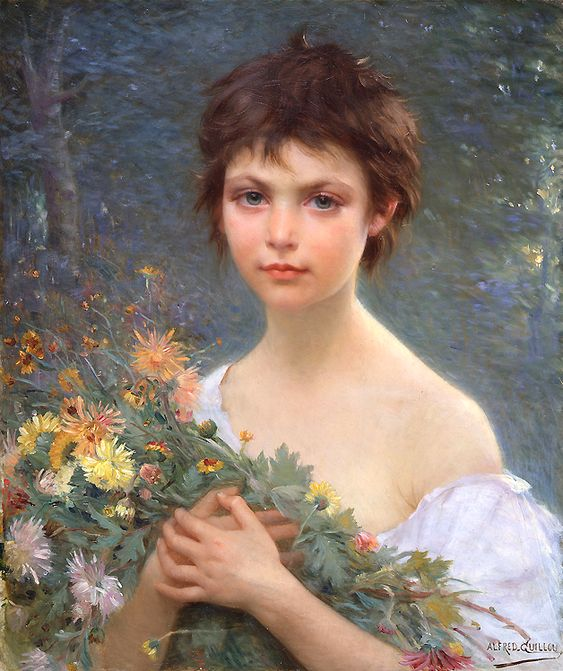 """""""A young girl with wild flowers"""" by Alfred Guillou (French, 19th Century)"""