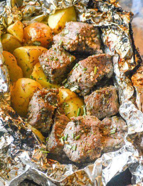 Grilled Butter Garlic Steak & Potato Foil Pack Dinner