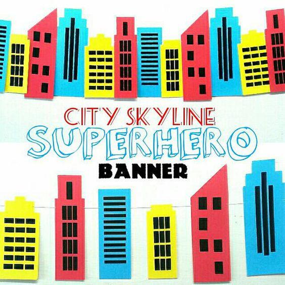 City Skyline Backdrop, Superman, Spiderman, Birthday Decor ...