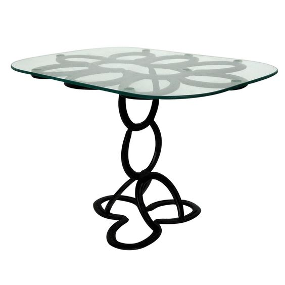 Lyrical Wrought Iron Side Table Made from St. Croix Forge Horseshoes, circa 1985 | From a unique collection of antique and modern end tables at https://www.1stdibs.com/furniture/tables/end-tables/