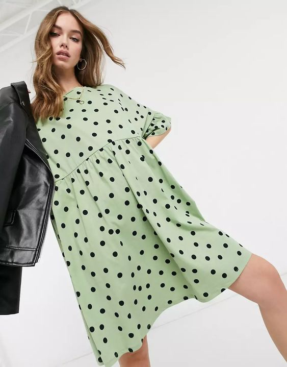 ASOS DESIGN super oversized frill sleeve smock in sage and black spot print
