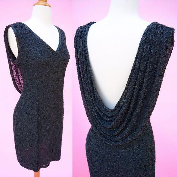 Vintage 90s Designer Black Beaded Cocktail Dress // Prom LBD 1990s Party Dress…