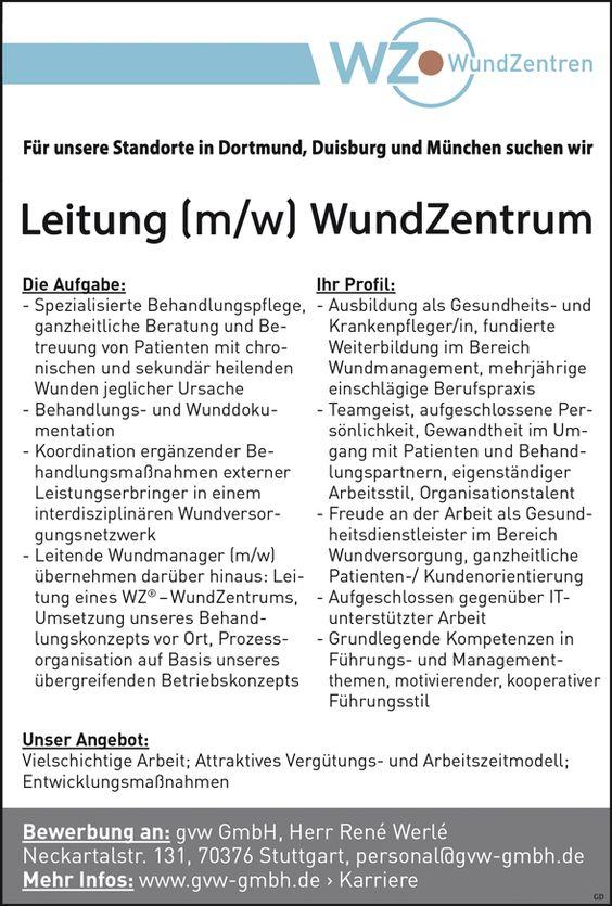 Gesundheits- und Krankenpfleger /in mit fundierter Weiterbildung im Bereich Wundmanagement, mehrjährige Berufserfahrung als Leitung m/w für unser WundZentrum gvw GmbH - WundZentren
