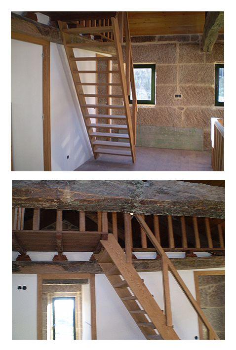 Escalera tipo barco en madera de roble bafi for Escaleras tipo barco