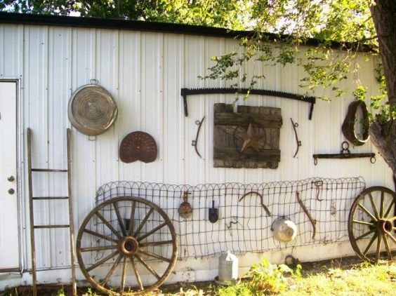 Darlis Wallace's shed wall of all kinds of treasures