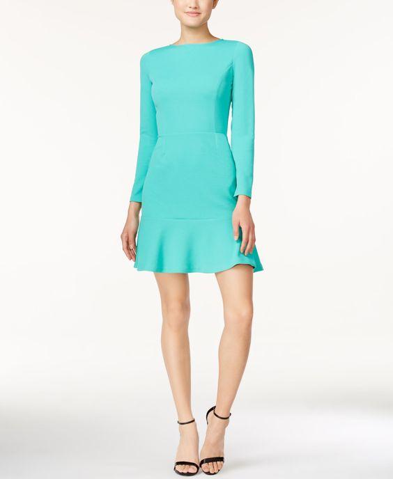 Bar Iii Long-Sleeve Flounce Dress, Only at Macy's