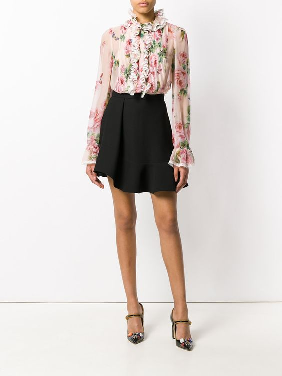 Dolce & Gabbana блузка с рюшами и розами