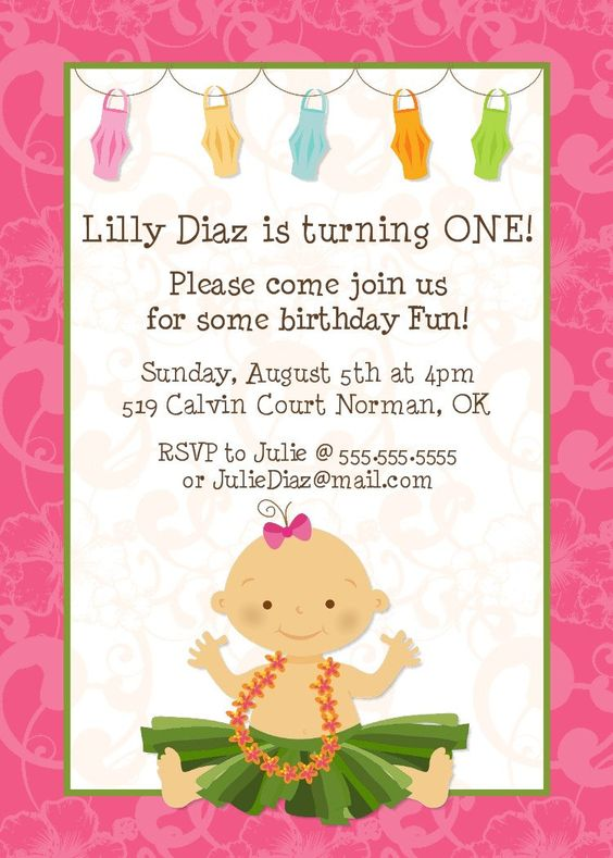 Hula Baby Birthday Invitation -- Printable Digital File. $15.00, via Etsy.