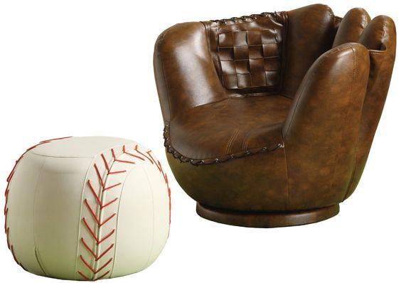 baseball mitt chair and ottoman