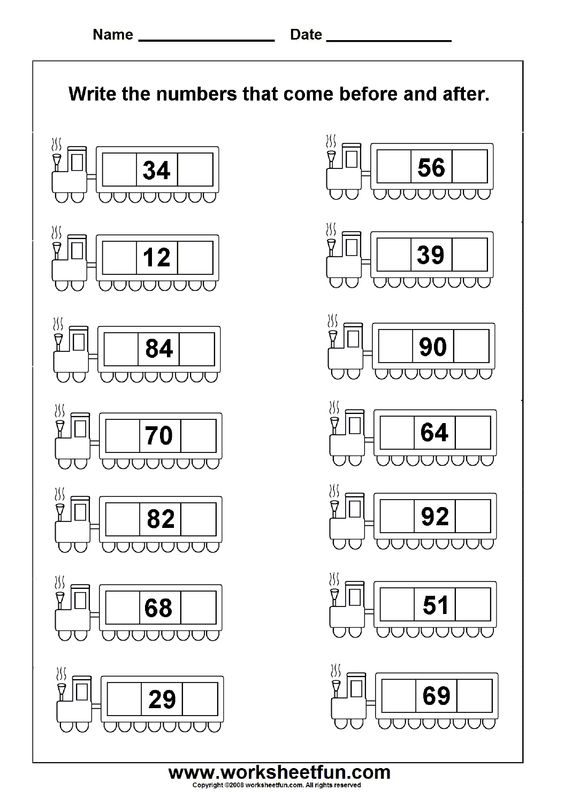 Before & After Numbers - 2 Worksheets | Printable Worksheets ...