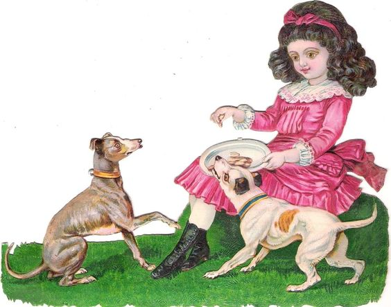 Oblaten Glanzbild scrap die cut chromo Kind  18,5cm child girl Hund dog Mädchen: