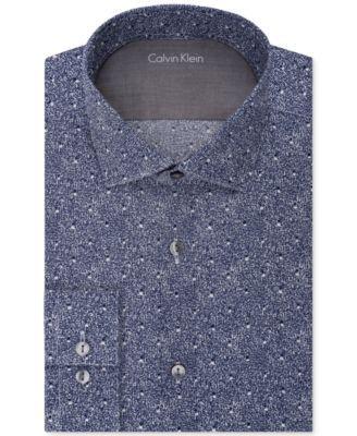 CALVIN KLEIN Calvin Klein Men's X Extra-Slim Fit Navy Print Dress Shirt. #calvinklein #cloth # dress shirts