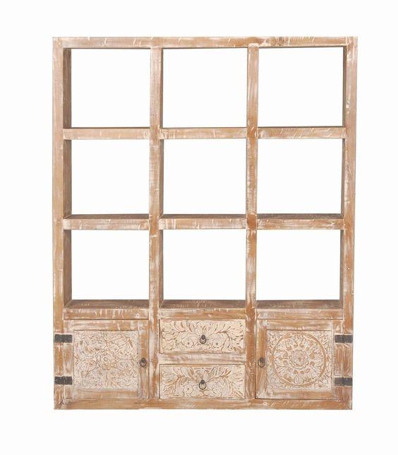 Shabby Chic Vintage Regal Massivholz mit Türen 145x180x35cm