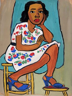 Seated Woman in Flowered Dress, ca. 1939-1940, William H. Johnson, tempera and charcoal on paper, 24 1/8 x 18 1/8 in. (61.2 x 46.0 cm), Smithsonian American Art Museum, Gift of the Harmon Foundation, 1967.59.320