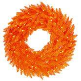 Orange wreath. Found it at AllModern - Pre-Lit Wreath