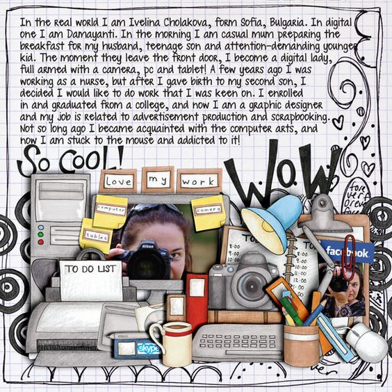 Scrapping 9 to 5  Circles doodles and inscription - COLLAB: Audaciously Awesome (with Kim Jensen)  BG - Doodled Papers by Jacque Larsen  Font - I love me some sheri by Darcy Baldwin  Thanks for looking!