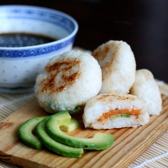 Japanese pan fried rice balls with sweet potato and avocado filling - enjoy with homemade teriyaki sauce.