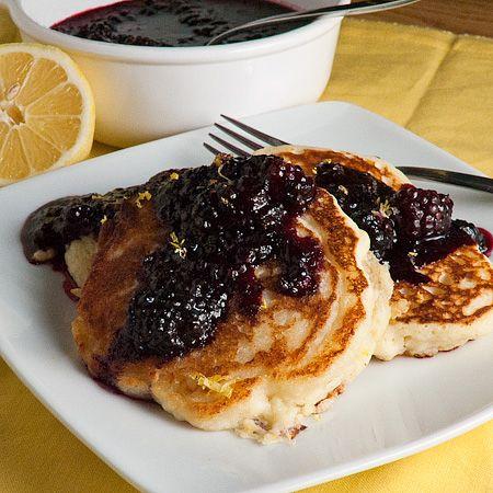 lemon ricotta pancakes with blackberry (or raspberry) sauce