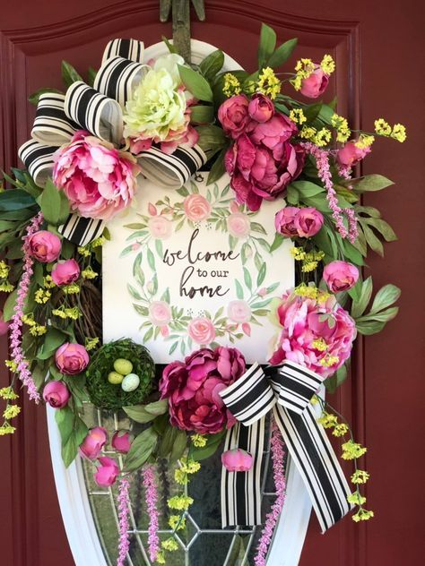 burton+BURTON 18 Wreath with Pink and White Daisies and Greenery