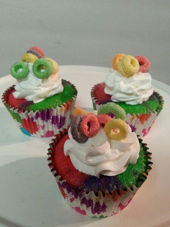 Rainbow splatter cupcakes