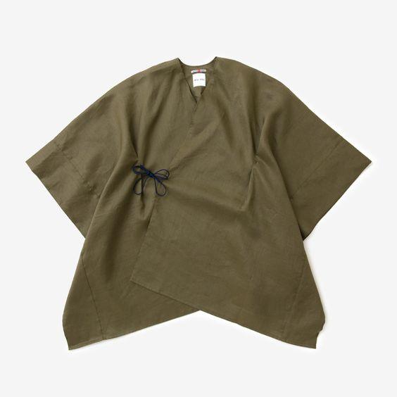 Kisaragi Poncho Cotton Linen Khaki : SOU • SOU