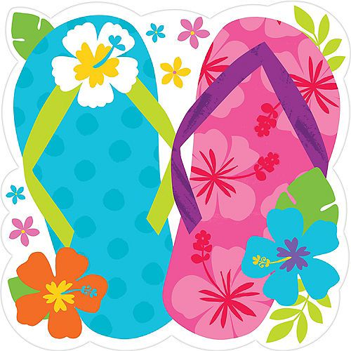 Bright Flip Flop Cutout Party City In 2020 Beach Themed Party