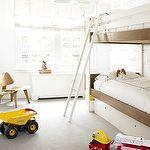 chico habitaciones - camas literas azul blanco costura blanco colgante blanco moderno Fun cortina romana, diseño muchacho juguetón moderno espacio para dos.  Litera