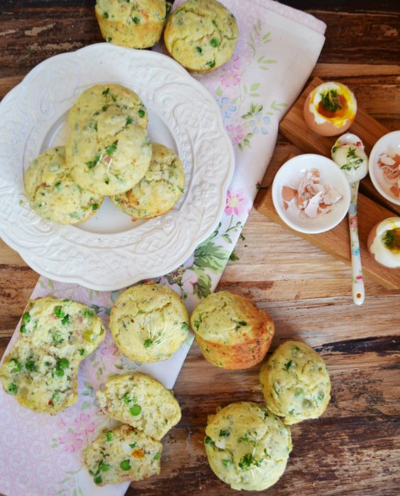 Ziegenkäse-Muffins mit Erbsen