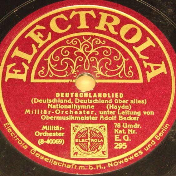 ADOLF BECKER with Orch.  Deutschlandlied  ELECTROLA WWII 78rpm 10