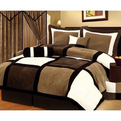 Queen Size 7 Piece Patchwork Comforter Set In Brown White Black Comforter Sets Bed Comforter Sets Bedding Sets