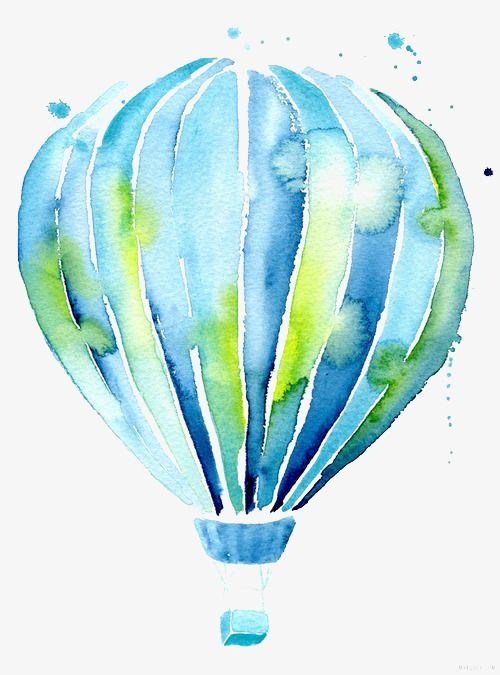 Hot Air Balloon Painting Watercolor Art Watercolor Illustration