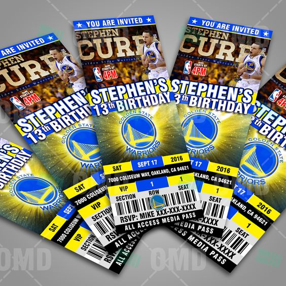 Golden State Warriors Ticket Style Party Invites: Great for sports fans of all ages, birthdays, save the dates and baby showers #sportsinvites