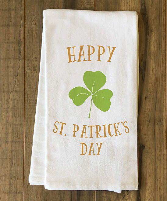 Happy St Patrick S Day Shamrock Tea Towel Custom Tea Towels For