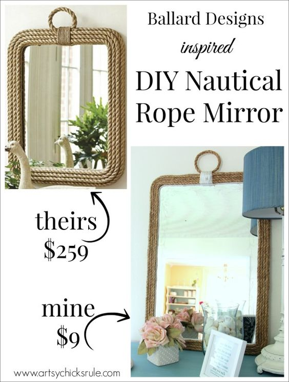 DIY Nautical Rope Mirror - Inspired by Ballard Designs - Hot Glue Rope - #thrifty #inspiredby artsychicksrule: